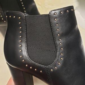 Lauren Ralph Lauren Black Leather Studded Booties